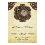 Invitación Boda antigua rústica de Steampunk del reloj del