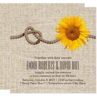 Invitación Boda de la arpillera del nudo del girasol y de la