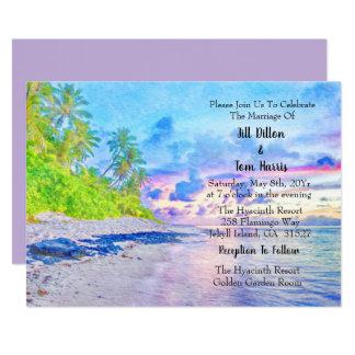 Invitación Boda de la puesta del sol del Palm Beach de la