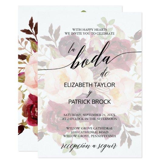 invitacin boda espaol floral descolorado el elegante de