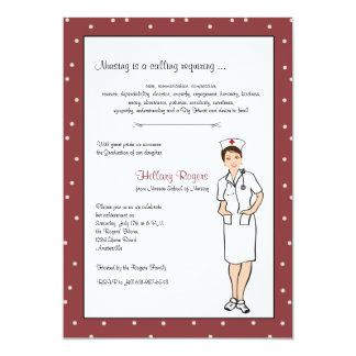 Invitación bonita de la graduación de la enfermera
