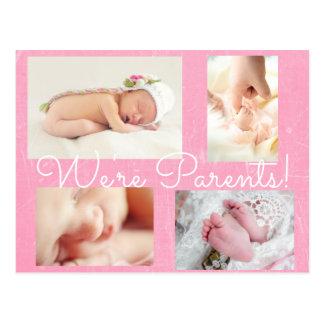 Invitación bonita del nacimiento de los padres del postal