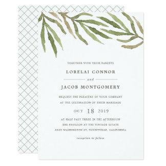 Invitación botánica del boda de la acuarela del invitación 12,7 x 17,8 cm