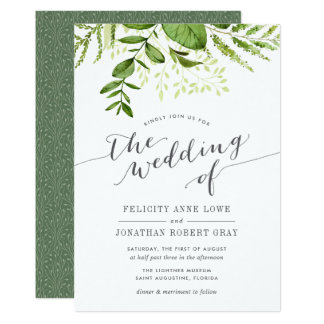 Invitación botánica del boda del prado salvaje invitación 12,7 x 17,8 cm