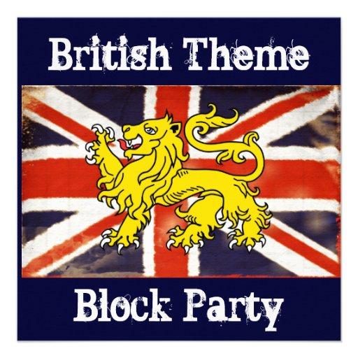 Invitación británica de la fiesta de barrio de Uni