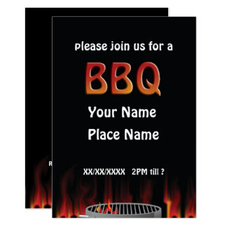 Invitación caliente llameante del Bbq