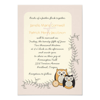 Invitación caprichosa del boda de los búhos