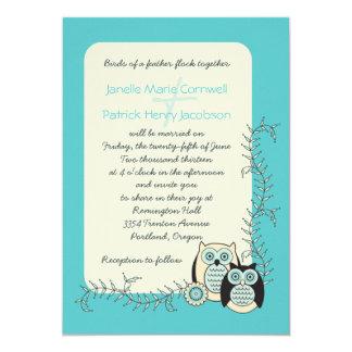 Invitación caprichosa del boda de los búhos del