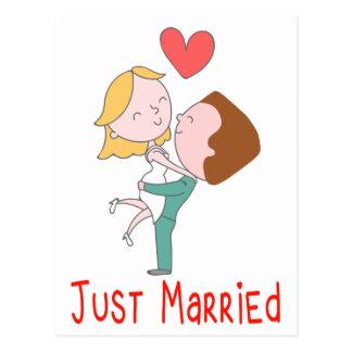 Invitación casada del boda apenas de la novia y postal