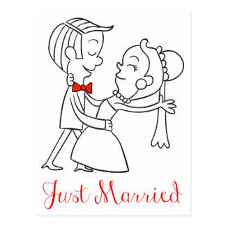 Invitación casada del boda apenas de novia y del postal