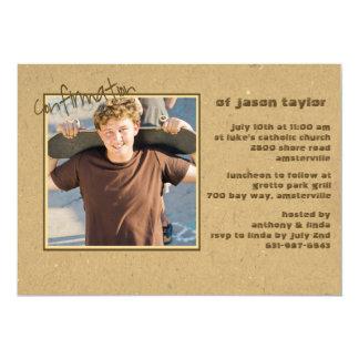Invitación casual de la foto de la confirmación invitación 12,7 x 17,8 cm