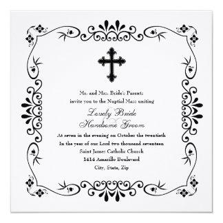 Invitación católica cruzada blanco y negro del