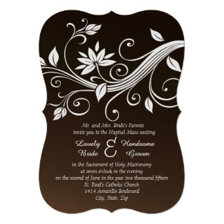 Invitación católica marrón banal del boda