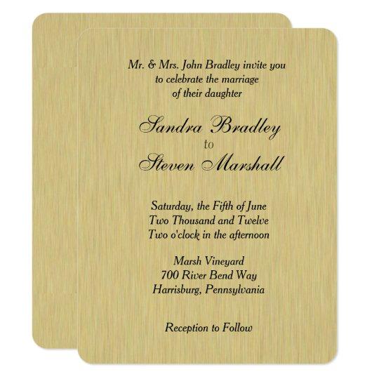 Invitación cepillada suavidad del boda del oro