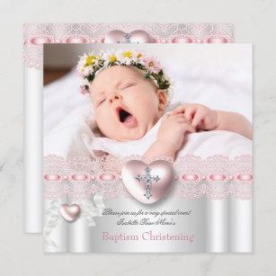 Invitación Chica de plata rosado de la cruz del corazón de l