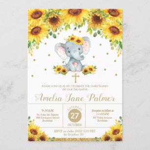 Invitación Chica del bautismo floral de girasol elefante