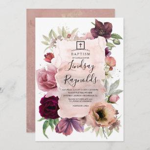 Invitación Chicas Bautismo  Floral rosa y borgoñona