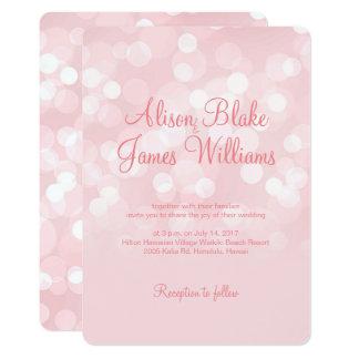 Invitación chispeante rosada elegante del boda del