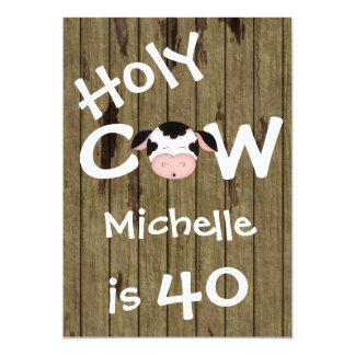 Invitación chistosa del cumpleaños de la vaca 40.a