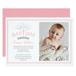 Invitación clásica del bautismo de la foto de la