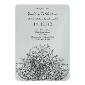 Invitación clásica del boda del dibujo lineal del
