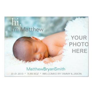 Invitación clásica del nacimiento de la foto -