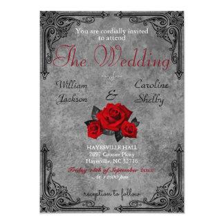 Invitación color de rosa blanco y negro gótica del
