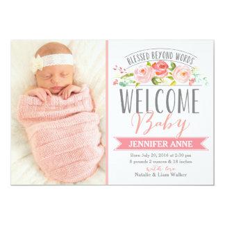 Invitación color de rosa del nacimiento del chica