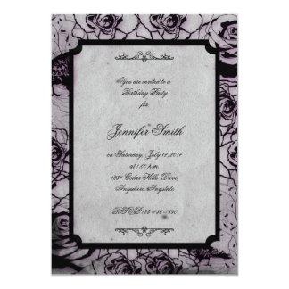 Invitación color de rosa gótica negra y púrpura invitación 12,7 x 17,8 cm