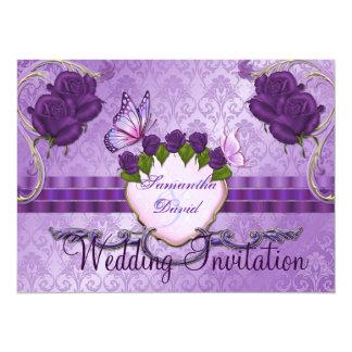 Invitación color de rosa púrpura del boda del