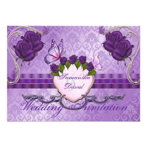 Invitación color de rosa púrpura del boda del dama