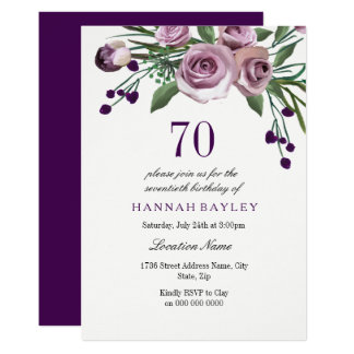 Invitación color de rosa púrpura del cumpleaños