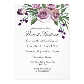 Invitación color de rosa púrpura del dulce 16 del