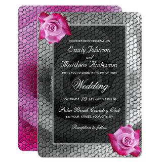 Invitación color de rosa rosada del boda del