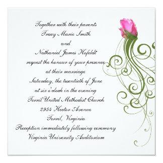 Invitación color de rosa rosada del boda del brote