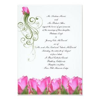 Invitación color de rosa rosada del brote