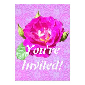 Invitación color de rosa violeta del damasco
