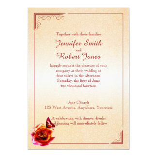 Invitación color de rosa y de la mariposa invitación 12,7 x 17,8 cm