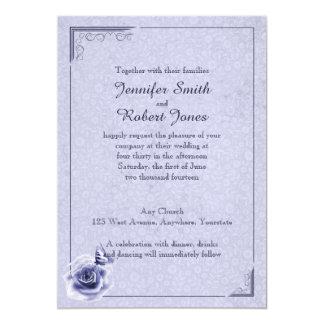 Invitación color de rosa y de la mariposa azul del invitación 12,7 x 17,8 cm