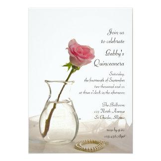 Invitación color de rosa y de las perlas rosada de