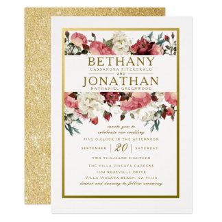 Invitación color de rosa y del oro del boda