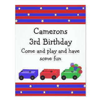Invitación coloreada del cumpleaños de los carros