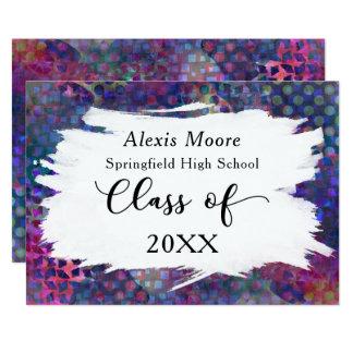 Invitación colorida, artística de la graduación