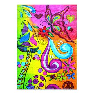 Invitación colorida de la mariposa de la seta del