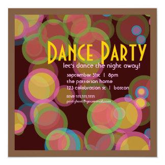 Invitación colorida del baile de la luz del disco invitación 13,3 cm x 13,3cm