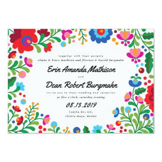 Invitación colorida del boda del bordado mexicano
