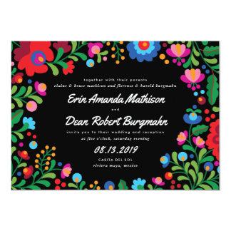 Invitación colorida del boda del bordado mexicano