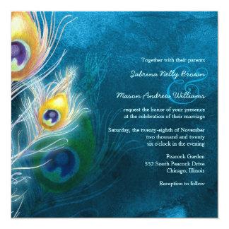 Invitación colorida del boda del tema del pavo