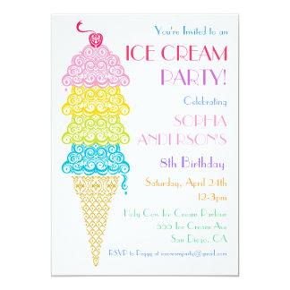 Invitación colorida del fiesta del cono de helado invitación 12,7 x 17,8 cm