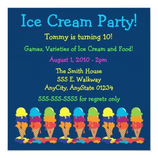 Invitación colorida del fiesta del helado invitación 13,3 cm x 13,3cm